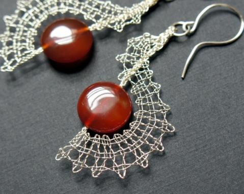 Wire bobbin lace and carnelian earrings