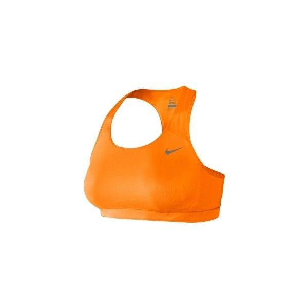 Nike Women's Victory Shape Bra ($42) ❤ liked on Polyvore featuring activewear, sports bras, nike, orange sports bra, racer back sports bra, nike sports bra, sports bra and nike sportswear