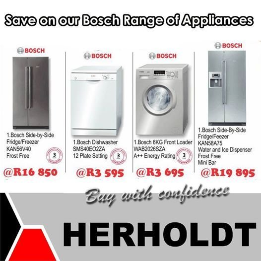 Visit our stores in Middelburg and Graaf-Reinette and get your Bosch appliances at up to 20% off. Herholdt Group bringing you better prices all the time and we undertake to beat any written offer on all our items in the store. #specials #lifestyleproducts #savings