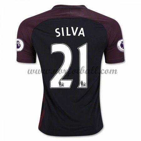 Billige Fotballdrakter Manchester City 2016-17 Silva 21 Borte Draktsett Kortermet