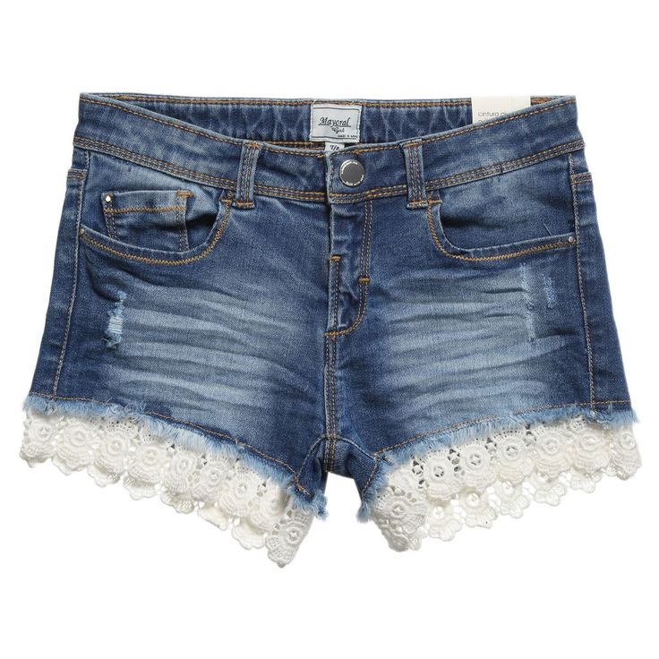 Blue Denim Shorts with Lace Trim , Mayoral, Girl