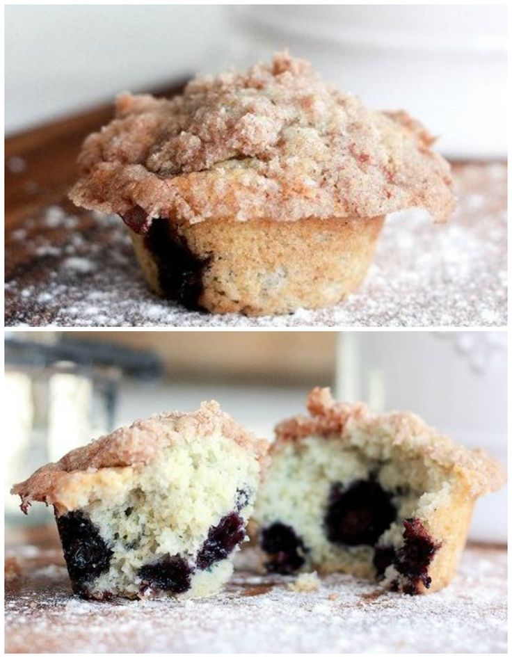 Tender Blueberry Crumble Muffins
