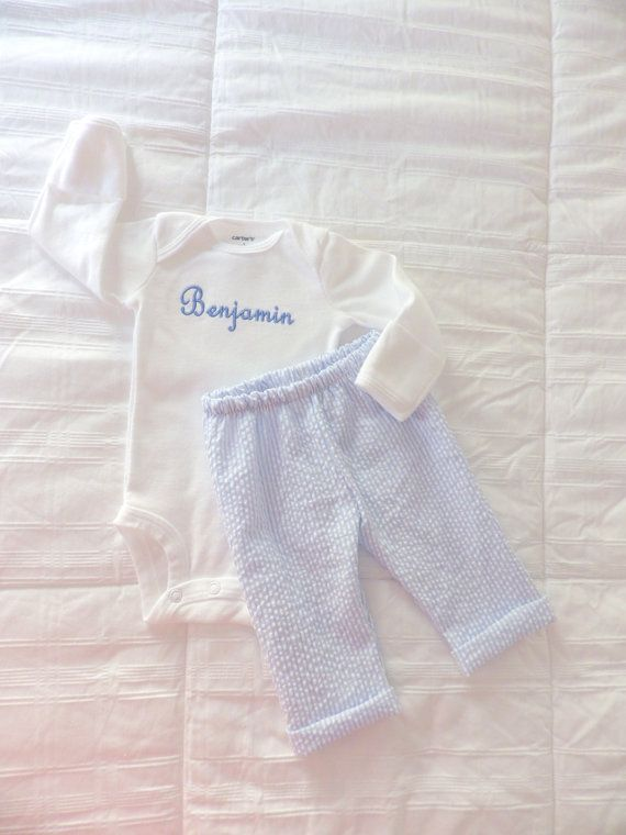 Newborn Boy Going Home Outfit. Bodysuit w Baby's Name