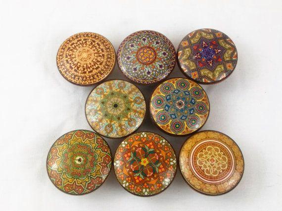 Set of 8 Oriental Mandala Eathtones Cabinet Knobs