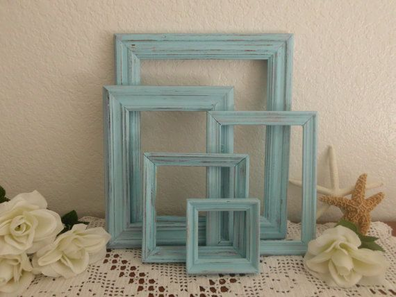 Coastal Seaside Blue Picture Frame Set Beach Cottage Shabby Chic French Country Farmhouse Rustic Distressed Summer Photo Gallery Collection