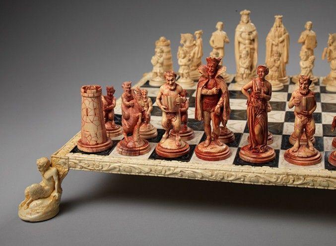 Italian Good Versus Evil Ivory Set And Chessboard Replica
