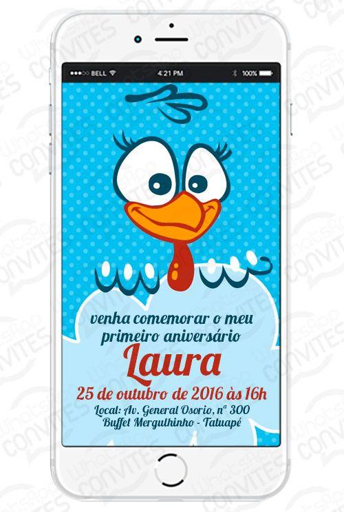 Convite virtual Tema Galinha Pintadinha para WhatsApp e redes sociais, seu convite virtual para ser enviado por WhatsApp, Facebook e outras redes sociais.