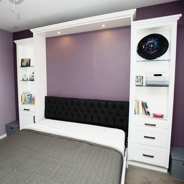 Отличная шкаф кровать: подголовник, подсветка и боковые шкафы  The Hampton Collection Murphy bed once again, one of our most popular beds #murphywallbedusa #murphybed #homedecor #inspiration #house #bhg #homedesign #furniture #beautiful #style #vscocam #instadecor #instastyle #home #design #beds #modern #highend #new #custom #amazing #luxury #interiordesign #luxuryhome #creative #spaces #tulsa #OK