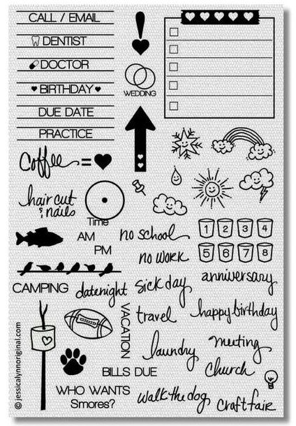 Calendar Planner Clear Rubber Stamp Set 44 Stamps by JLMould