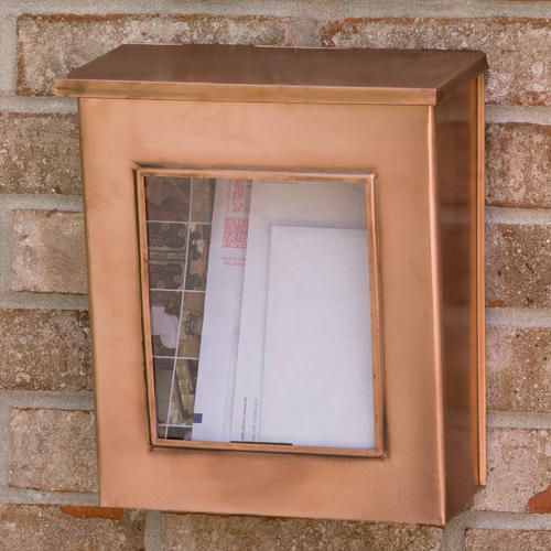 Vertical Wall-Mount Copper Mailbox with Viewing Panel - Antique Copper