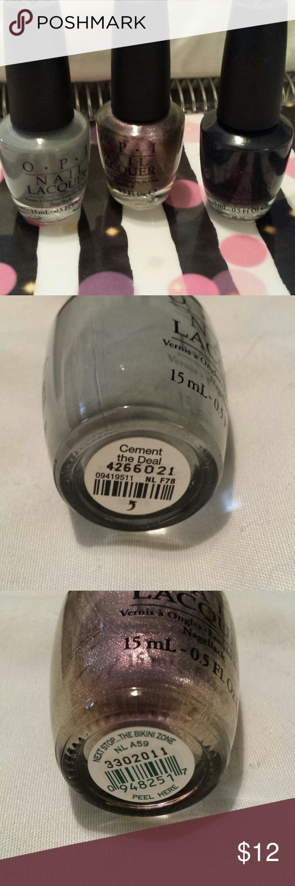 Set of 3 OPI Nail Polishes This listing includes 3 practically unused OPI nail polishes in the shades Cement The Deal, Next Stop...The Bikini Zone, and Dark Side Of The Moon. Be sure to check out all my other listings as many new items are being listed daily and for the month of February, you can save 20% when you bundle 3+ listings! Every purchase always includes some surprise goodies as well! OPI Makeup