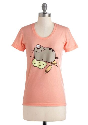 Pusheen the Limit Tee - Pink, Yellow, Tan / Cream, Grey, Casual, Kawaii, Short Sleeves, Mid-length, Jersey, Crew, Top Rated, Travel