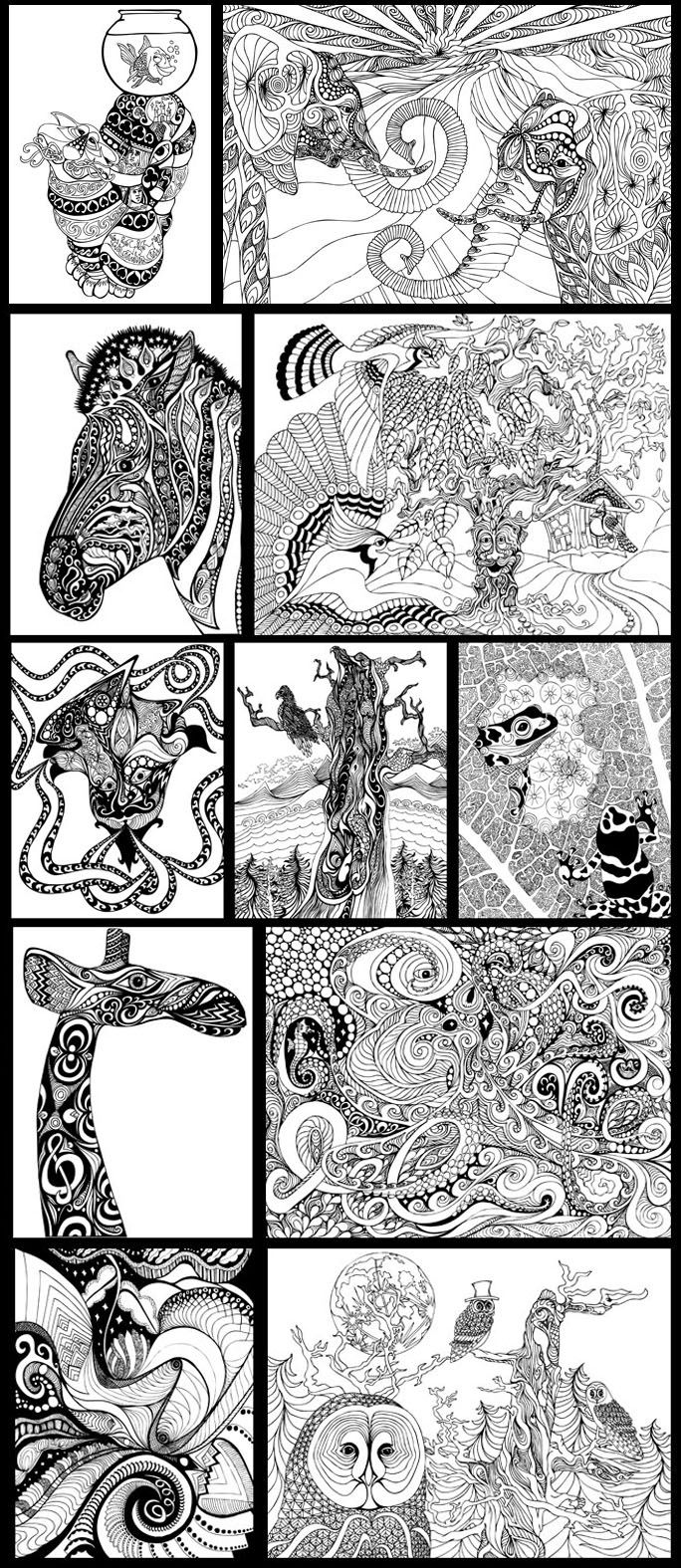 A Coloring Book for Big Kids - preview images
