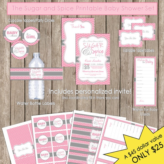 Sugar and Spice Baby Shower Pink and Grey Chevron Invitation Party Package Printable(PARTIAL INSTANT DOWNLOAD). $25.00, via Etsy.