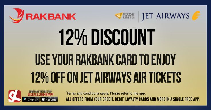 Enjoy 12% off on Jet Airways air tickets with your Rakbank Card  Download GL Deals app now and get more access to your cards' offers for free. http://www.gldeals.com/myapp #instalike #tagsforlikes #dubai #uae #offers #app #appstore #iosapp #googleplay #android #ios #gldeals #deals #discount #travel #jetairways #rakbank