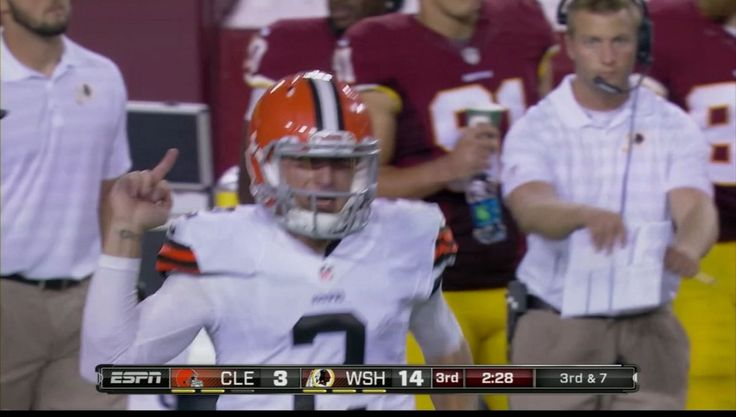 "The bird seen 'round the world: Cleveland Browns' quarterback Johnny ""Football"" Manziel gives the finger to the bench of the Washington Redskins during a preseason Monday Night Football game. (He couldn't save it until an actual regular season game? Wuss.)"