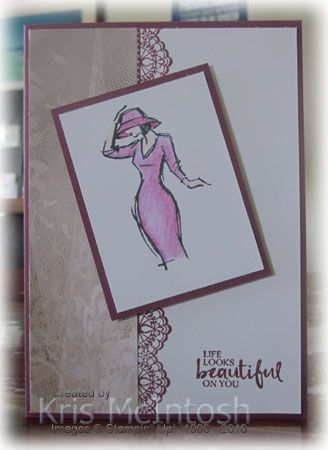 This is the second card I created using the images from my practice colouring. This time I used copy paper to mask the left hand side of Whisper White card and stamped the lace image from the Deli…