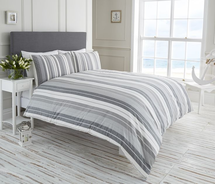 Life From Coloroll Finley Stripe Duvet Set Taupe Brand Ponden