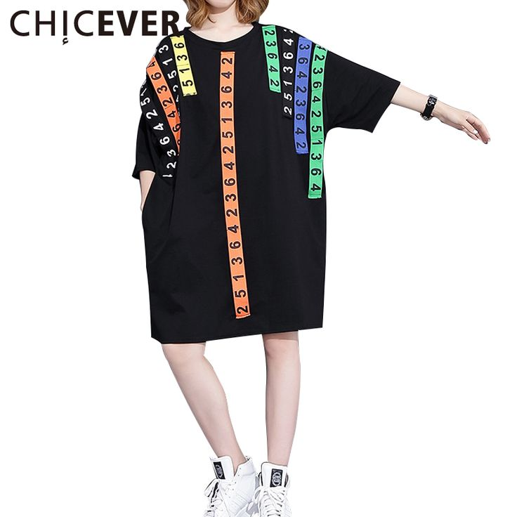 >> Click to Buy << CHICEVER Summer Three Quarter Digital Patch Long Female T-shirt For Women Tops 2017 Loose Black Women's T-shirts Top Clothes  #Affiliate