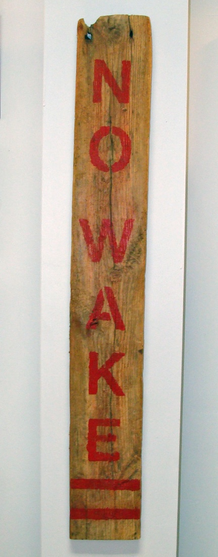 """NO WAKE"" Rustic Nautical Sign- for the bedroom on the door hahaha!"
