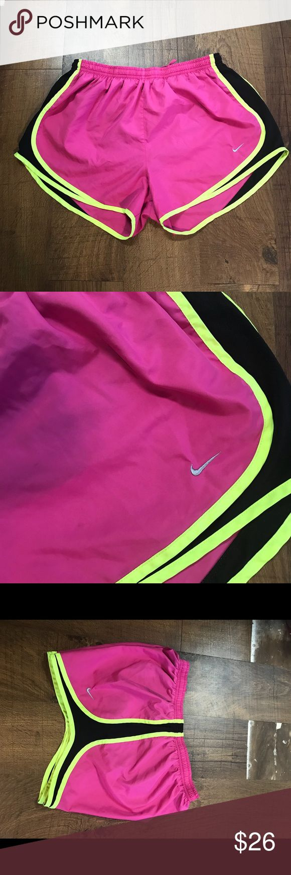 Nike neon running shorts Size large  No rips or stains  Adjustable waist  Built in underwear  Material listed in photo  Laying flat  Waist 14in  Leg 11in  💕open to offers💕 IN# A-5 Nike Shorts