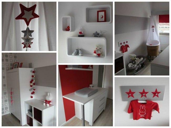 Neutrale rood, zilver getinte babykamer voor een verrassing