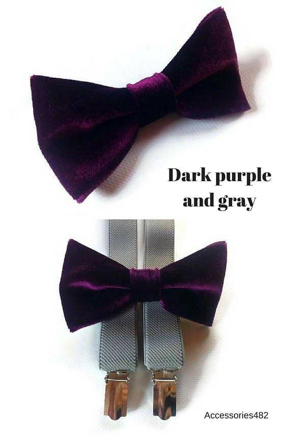dark purple gray wedding VELVET bowtie plum grey suspenders