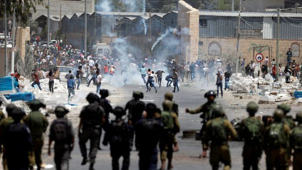 Hundreds of Palestinians Clash With Israeli Forces in West Bank and Gaza; Dozens Hurt. Eleven Palestinians were wounded by gunfire in the southern Gaza Strip, two of them seriously, the Palestinian Health Ministry said. In the West Bank, dozens were wounded by tear gas and rubber bullets, the Palestinian Red Crescent said, with the most violent clashes taking place around Nablus in the villages of Beita and Bait Djan. About 20 Palestinians were arrested in the clashes.