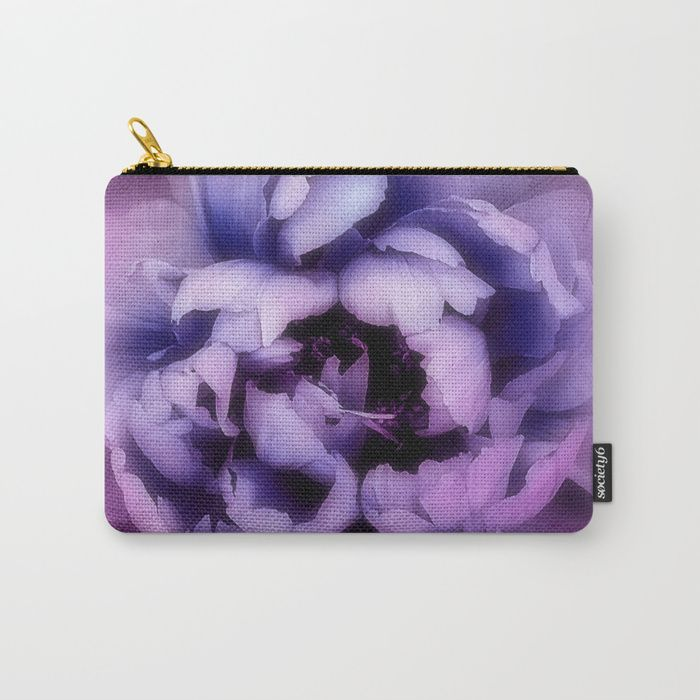 Purple Pantone Ultra Violet color of the year 2018. Organize your life with our Carry-All Pouches. Available in three sizes with wraparound artwork, these pouches are perfect for toiletries, art supplies or makeup. Even an iPad fits into the large size. Features include a faux leather pulltab for easy open and close, a durable canvas-like exterior and a 50/50 poly-cotton black interior lining. Machine washable.