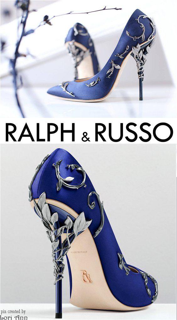 Ralph & Russo Eden Pump in Colbalt & Antique Silver