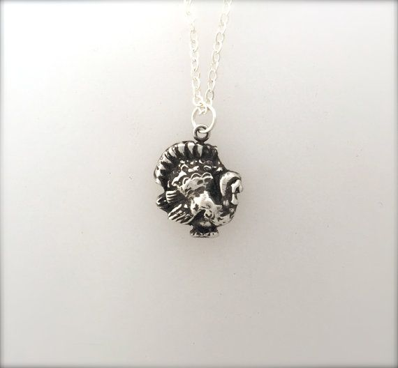 Happy Turkey Necklace-Metal Clay Necklace-Vegan by crobinsondesign