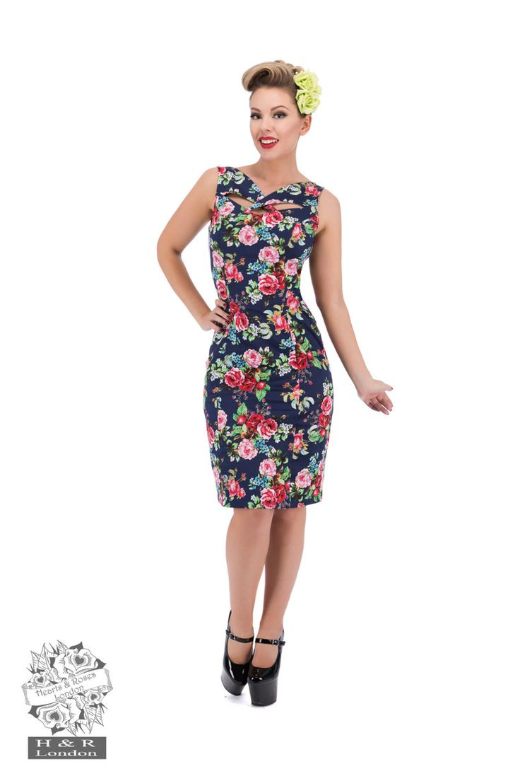 Hearts and Roses London - Navy Rose Wiggle Dress