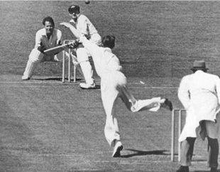 Early on the legendary Invincibles tour of 1948. Peter Smith bowls to Don Bradman