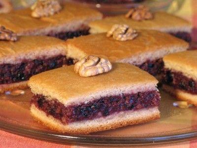Постное ореховое пирожное с джемом