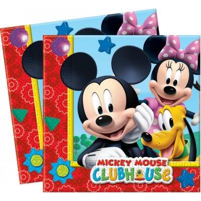 Invitez  Mickey ,  Minnie  et  Pluto  à la fête d'anniversaire de votre enfant avec cet ensemble de  20 serviettes Mickey Mouse Club House  !   Multicolores, ces serviettes en papier de qualité double épaisseur (2 plis) font 33 x 33 cm une fois dépliées. Elles seront donc parfaites pour essuyer les traces de gâteau autour des bouches des enfants. Et pour une  déco d'anniversaire Mickey  réussie, associez ces serviettes aux gobelets et assiettes Mickey !