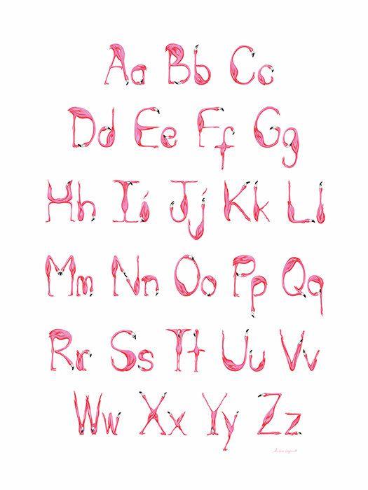 Pink Flamingos Alphabet ABC print от AmelieLegault на Etsy