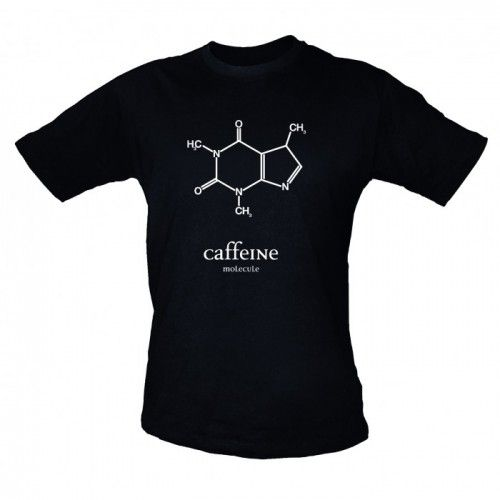 Caffeine Molecule T-Shirt on Yellow Octopus