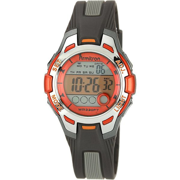 Armitron Sport Womens Digital Chronograph Resin Strap Watch ($22) ❤ liked on Polyvore featuring jewelry, watches, orange, digital sports watch, dial watches, sport watches, sport watch and two-tone watches