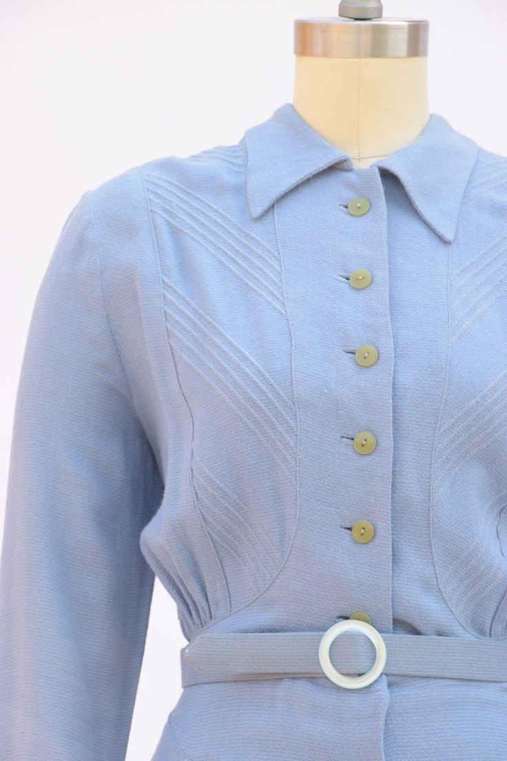 gorgeous european made day late 1930s day dress in periwinkle