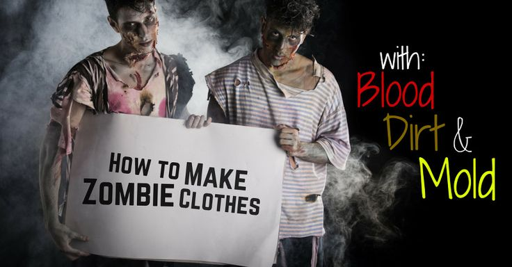 "Want your homemade zombie costume to look legit? Check out this guide to ""zombifying"" old clothing with rips, bloodstains, dirt, mold, and gore."