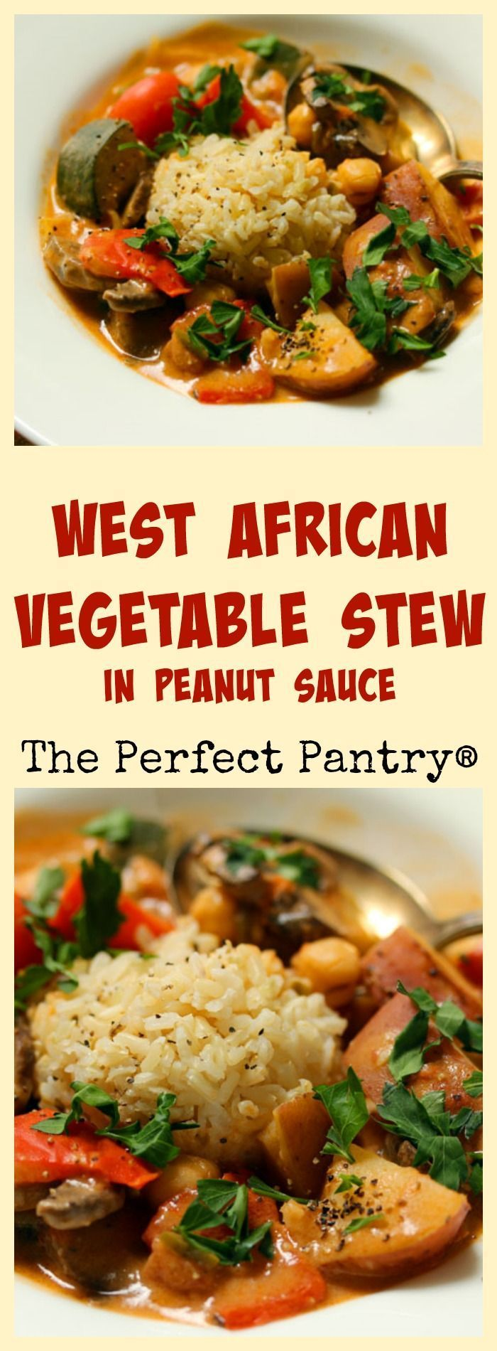 West African vegetable stew in a rich peanut sauce. You'll never miss the meat! #vegetarian [ThePerfectPantry.com]