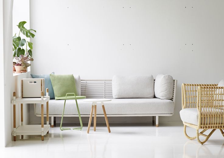Sense Sofa, Nest chair, frame, area table stool and one-the-move side table. Bright and comfortable -  cosy area - living room.