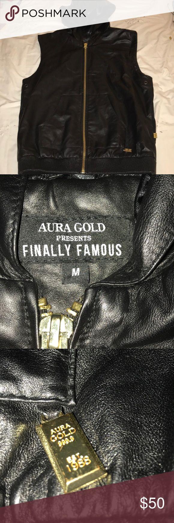 Big Sean Aura Gold Finally Famous Vest Black pvc vest with gold accents. Aura Gold Jackets & Coats Vests