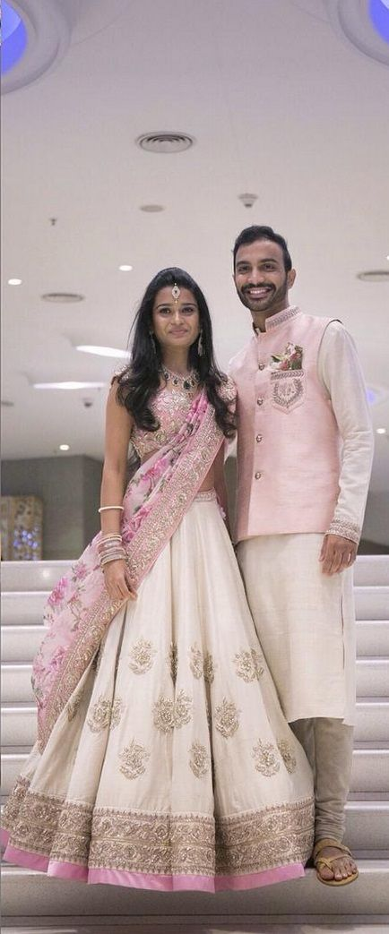 By designer Anushree Reddy. Beautiful use of baby pink