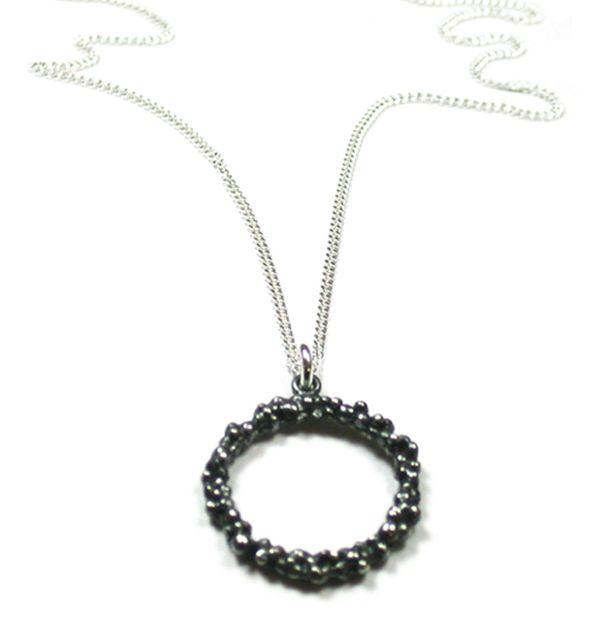 Oxidised Silver Drop Pendant