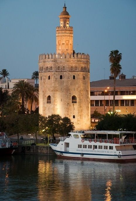 Sevilla, Spain Torre de Oro, a reminder of Spain's maritime past and the wealth brought from the Americas.