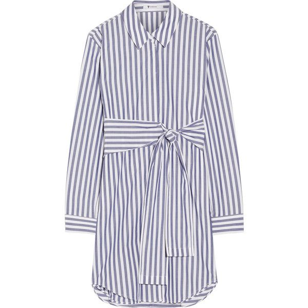 T by Alexander Wang Tie-front striped cotton-poplin mini dress (27.875 RUB) ❤ liked on Polyvore featuring dresses, vestidos, striped, short loose dresses, stripe dresses, white blue dress, striped mini dress and t by alexander wang dress