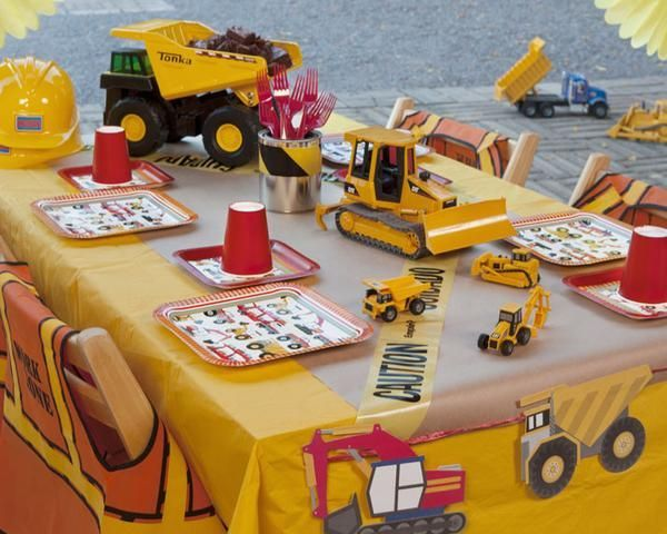 """Calling all builders to clock into the birthday construction site! The tools are in order to construct a solid party with our themed decor, tableware, favors, and activities. Hard hats, shovels and construction vests will outfit the workers. Our custom """"Construction Dig"""" activity and """"Pin the Boulder on the Dump Truck"""" game will keep the builders engaged until their shift is over.  Package details for 12 party guests. For 16 and 24 guests, package is adjusted accordingly…"""