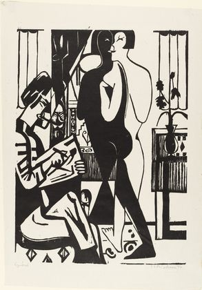 Artist and Model (woodcut) by Ernst Ludwig Kirchner