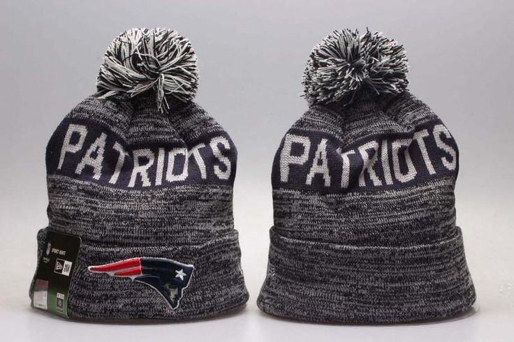 Men's / Women's New England Patriots New Era NFL Sideline Sports Knit Pom Pom Beanie Hat - Grey / Navy